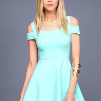 OFF SHOULDER SKATER DRESS