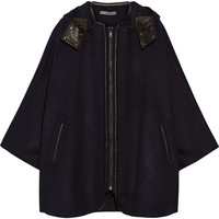 Vince Leather-trimmed wool-blend hooded cape – 45% at THE OUTNET.COM