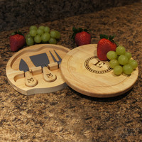 "Design's Brie Personalized Cheese Cutting Board and Tool Set with Monogram Design Options and Font Selection (7.5"" Diameter)"