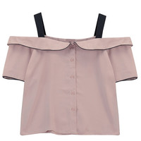 Button Front Off Shoulder Top