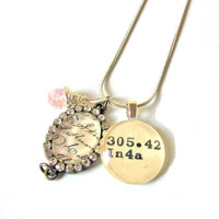 AAA Grade Rose Quartz and Rhinestone Love Letter Charm Dewey Decimal Necklace Featured in Jewelry Affaire