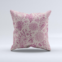 Puprle and Light Pink Sketched Lace Patterns v21 Ink-Fuzed Decorative Throw Pillow