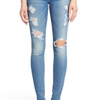 7 For All Mankind® Destroyed Skinny Jeans (Stretch Blue Orchid) | Nordstrom