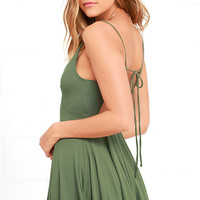 Poetry in Motion Olive Green Skater Dress