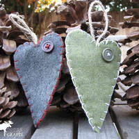 Felt Christmas Heart Ornament, gift tag, primitive,  buttons, hand stitched, rustic ornament, shabby chic, cozy, country christmas