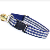 "Cat Collar - ""Blueberry Hill"" - Navy Blue, Ivory & Gold Gingham Check"