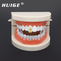 Single Cross Teeth Grillz Gold Color Canine One Tooth Grills Upper Hip Hop Top Fangs Hollow Grill