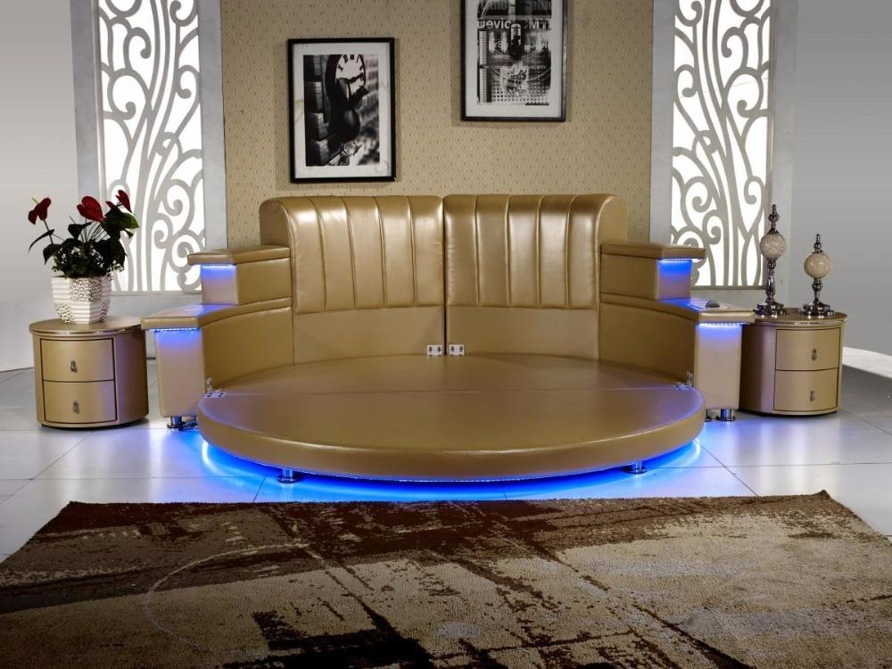 Image of Modern Leather King Bedroom With Led, Speaker, Round Soft Bed