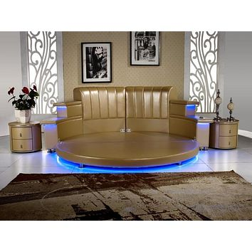 Modern Leather King Bedroom With Led, Speaker, Round Soft Bed