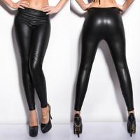 Fashion Sexy Women's Wetlook Leather Like Bandage Mesh Strappy Leggings Pants Tights (Size: M, Color: Black)