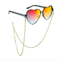 2016 Brand 24K Gold Color Metal Plating Heart Chain Glasses Chains Sunglasses Rope Copper Glasses chain eyewear accessories 80cm