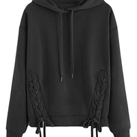 Womens Hood Solid Relaxed Lace Up Eyelet Pullover Sweatshirts