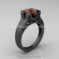 Modern Classic 14K Matte Black Gold 1.0 CT Orange Sapphire Engagement Ring, Wedding Ring R36N-14KMBGOS