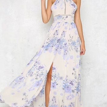 White Floral Print Halter Neck Backless Tie Back Split Maxi Dress