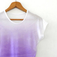 Ombre Purple Womens Tshirt , Hand Dyed  Short  Sleeve Top, Loose Fit  Summer Tee  Size  M/L