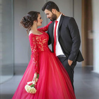 Red Ball Gown Plus Size Prom Dresses Long Sleeves 2016 Lace Elegant Evening Gowns Formal Women Party Dress for Wedding E8