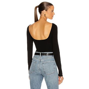 Sylvi Square Back Bodysuit Black