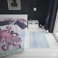 Nautical Octopus Duvet Cover Purple Pastel Colors Watercolor Twin Full King Queen Size Bedspread Bedding Bedroom Apartment Dorm Decor