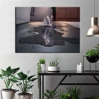 The Reflection of a Cat is Like a Tiger Printed Poster Modern Wall Art Canvas Painting Prints on Canvas For Home Decor No Frame