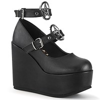 "Poison 99 Goth Punk Platform 5"" Wedge Mary-jane Pentagram Straps"