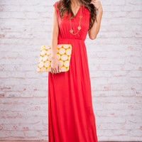 Greek Chic Maxi Dress, Coral
