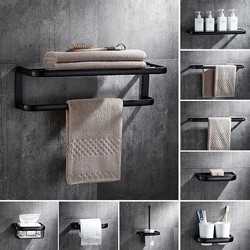 Bathroom Accessories, Corner Shelf,Towel Rack,Paper holder,Towel Bar,Soap basket,Towel Rail Black Oil Brushed bathroom Hardware