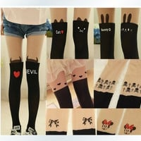 Japanese splicing false high over-the-knee cartoon fake tattoo socks leg pants cats love filar socks = 1929736580