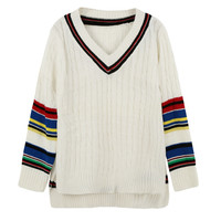White V-Neck Contrast Striped Knitted High Low Sweater