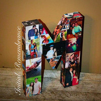 Photo letter collage Girlfriend Gift, Children's, College Dorm Room Wedding Birthday Picture Letter Personalized Monogram 3D Picture  Frame