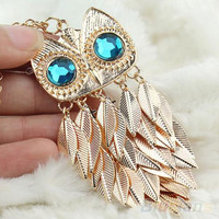 Gold Owl  Leaves Charm Necklace Chain Pendant New Fashionable