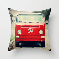 Red VW Bus Throw Pillow by Anna Dykema Photography | Society6