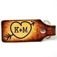 Engraved Initials Leather Key Chain