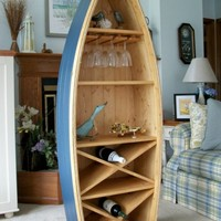 $430.00 6 Ft Boat Wine Rack Glass Holder bookcase shelf canoe by spinad1
