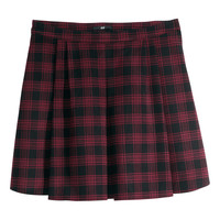 H&M - Felted Skirt - Red/checked - Ladies