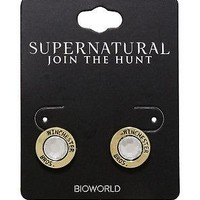 Licensed cool CW SUPERNATURAL Winchester Brothers Circle Stud Earrings CZ faux Gem gold Tone