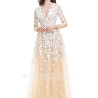 [US$ 249.99] A-Line/Princess V-neck Sweep Train Tulle Prom Dress With Cascading Ruffles - JJsHouse