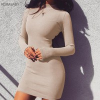 RLMABABY Winter Turtleneck Ribbed Bodycon Sexy Dress Long Sleeve Christmas Party Dress Casual Knitted Mini Vestidos Women Dress