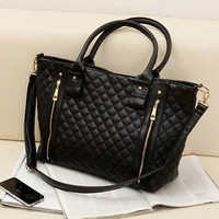 Women's Quilted Black Shoulder Tote Bag Handbag