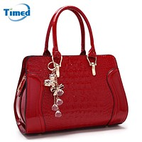 2017 New Women's Shoulder Bag Casual Solid Handbags High Quality PU Alligator All-Match Bags For Female With Tassel Shell Bag