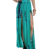 Sale-teal Breath Of Life Tie Dye Skirt