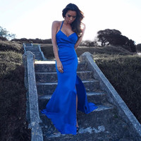 2017 Sexy Backless Cheap Mermaid Blue Long Prom Dresses Side Slit Elegant Women Formal Evening Gowns Robe de Soiree Beach Party