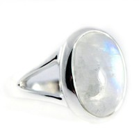 Sterling Silver Large Oval Rainbow Moonstone Ring