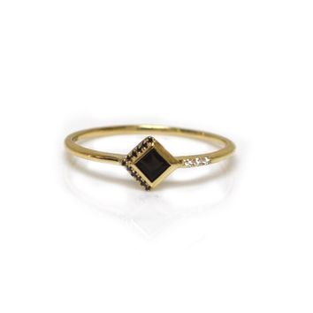 14kt Gold Black Obsidian & Diamond Mysterieux Ring