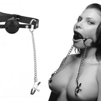 Ball Mouth Gag with Nipple Clamps