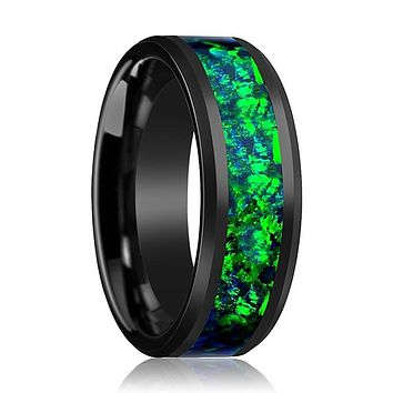 CHARLIE Emerald Green & Sapphire Blue Opal Inlay Black Ceramic Ring Polished Finish