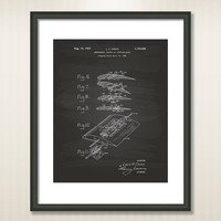 Airplane Wing 1929 Patent Art Illustration - Drawing - Printable INSTANT DOWNLOAD - Get 5 Colors Background
