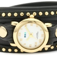 La Mer Collections Women's LMSW6003 Bali Gold-Tone Studded Watch with Gray Leather Wraparound Strap