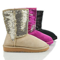 BlingIIS By Happy Soda, Children Girls Round Toe Sequence Faux Fur Lining Ankle Bootie