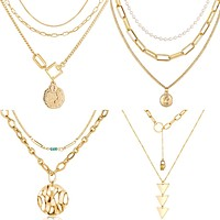 Multi-layered Gold Portrait Head Coin Necklaces
