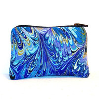 """Blue & Purple Oil Slick Print Cotton Padded Pipe Pouch 4"""" / Glass Pipe Case / Spoon Cozy / Piece Protector / Pipe Bag / MINI"""